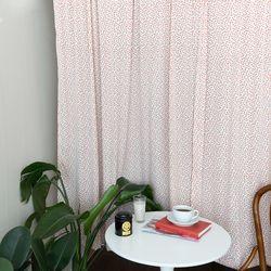 라인쁘띠오렌지꽃 작은창커튼 카페커튼 140x160cm