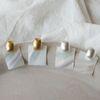 사각 자개 실버 골드 귀걸이 (2color)