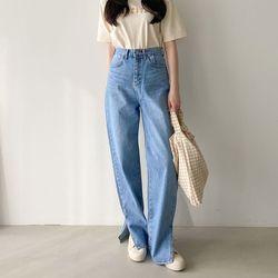 Hepburn Slit Wide Jeans
