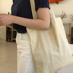 slowstitch simple logo bag ( pastel yellow )