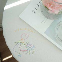 소녀의하루자수 원형 테이블보/식탁보