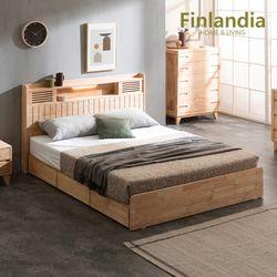 핀란디아 네이쳐R100 수납LED 침대Q(퀸)+20T라텍스독립매트리스