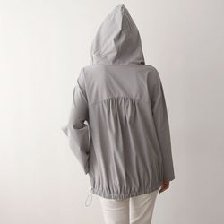 Hood Nylon Shirring Sweatshirt