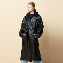 OVERSIZE BUTTON POINT ECO TRENCH COAT BLACK