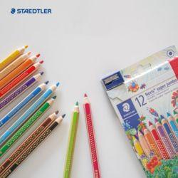 스테들러 노리스클럽 코끼리 점보색연필 12색 연필깍이포함