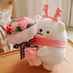 꽃다발 배달왔어요 꽃을 든 백곰인형세트인형+꽃다발