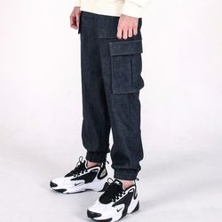 (UNISEX)M Denim Cargo-Jogger Pants(INDIGO)