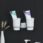 무타공 칫솔꽂이 강력흡착 컵걸이 양치컵F-1 양치컵 꽂이 세트2p