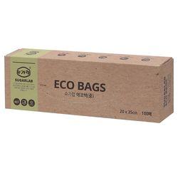 친환경 에코백 (중) 100매 20x35cm 일회용 위생봉투
