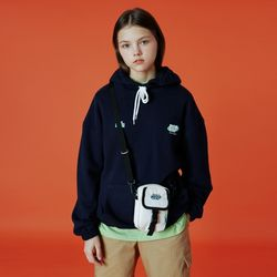 Double label point hoodie-navy