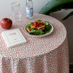 온더쁘띠오렌지꽃 식탁보 테이블보 120x120cm 테이블러너