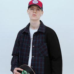 포켓 하프 체크셔츠-네이비