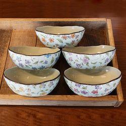 일본 도자기 그릇 아리타 타원 앞접시 볼그릇 5P 세트