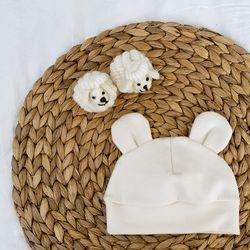 아기보넷 곰 아이보리 아기 모자 신생아 보넷