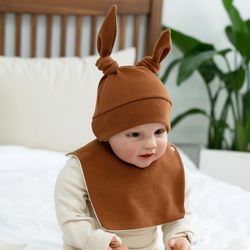 아기보넷 토끼 브라운 아기 모자 신생아 보넷