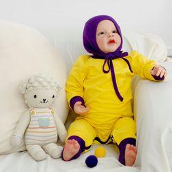 아기우주복 투톤옐로우 아기 우주복 신생아 지퍼우주복