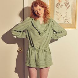 Ruffle Cotton Blouse Green