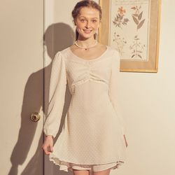 Chiffon Layered Mini Dress Ivory