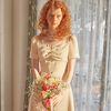 Chiffon Layered Midi Dress Ivory
