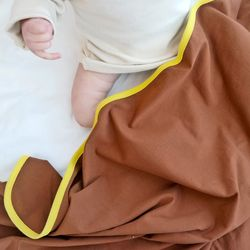 신생아속싸개 투톤브라운 아기 속싸개 신생아 이불 목욕가운