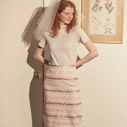 Romantic Spangle Midi Skirt Ivory