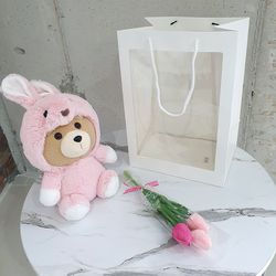 동물 테드 튤립꽃다발 쇼핑백포함
