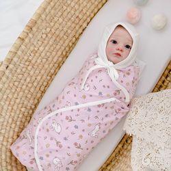 신생아속싸개 플라워토끼핑크 아기 속싸개 신생아 이불 목욕가운
