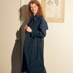 Ring Buckle Trench Coat Navy