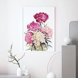 가든 모란 꽃 그림 액자 A3 포스터+알루미늄액자