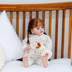아기우주복 플라워토끼화이트 아기 우주복 신생아 지퍼우주복