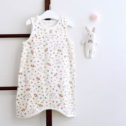 아기수면조끼 플라워토끼화이트 아기 조끼 신생아 수면조끼
