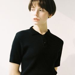 TWO BUTTON COLLAR KNIT (BLACK)