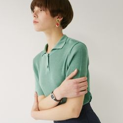 TWO BUTTON COLLAR KNIT (MINT)