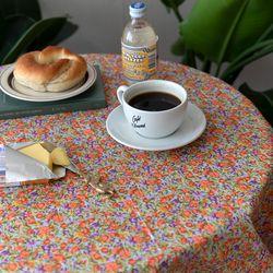 온더빈티지플라워오렌지꽃 식탁보 테이블보 120x120cm