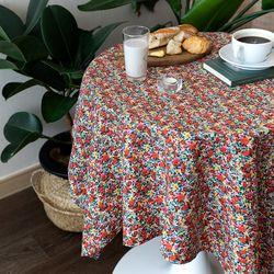 온더빈티지플라워레드꽃 식탁보 테이블보 120x120cm