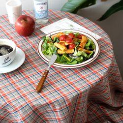 온더오렌지주스체크 식탁보 테이블보 120x120cm 테이블러너