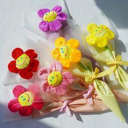 스마일꽃인형 꽃다발 한송이 6color