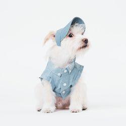 스트라이프 데님 타이백 크롭 셔츠 (라이트 블루)