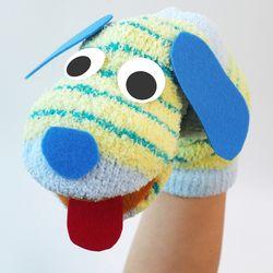 양말 손인형 만들기 세트 - 줄무늬 강아지