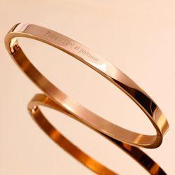 [각인팔찌]4mm Lettering Rose Gold Simple Bangle