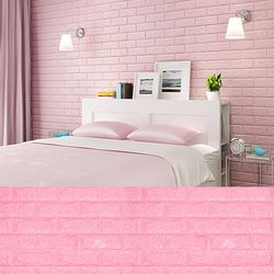 폼블럭B 핑크 45cm쿠션벽돌단열벽지벽돌