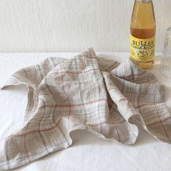 natural tartan linen check table mat