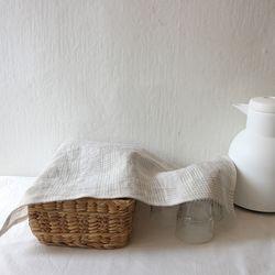 natural linen check table mat