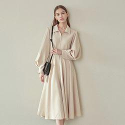 BELT FLARE COLLAR DRESS BEIGE