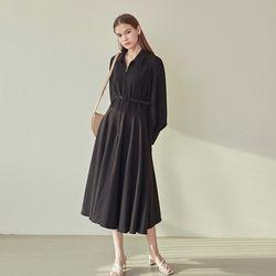 BELT FLARE COLLAR DRESS BLACK