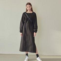 [예약판매 4/13순차배송] SQUARE STRING LONG DRESS BLACK