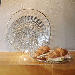다이아몬드 골드라인 유리 접시 (3size)