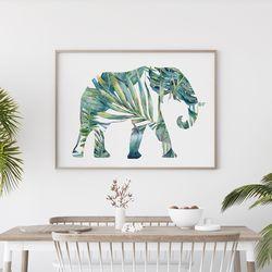 그린 코끼리 액자 인테리어 그림 A3 포스터+알루미늄액자