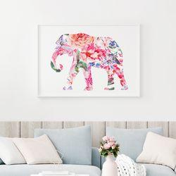 핑크 코끼리 액자 인테리어 그림 A3 포스터+알루미늄액자