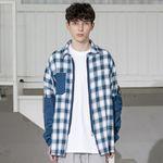 매스노운 SL 로고 체크 섹션 포켓 셔츠 MSZST001-BL
